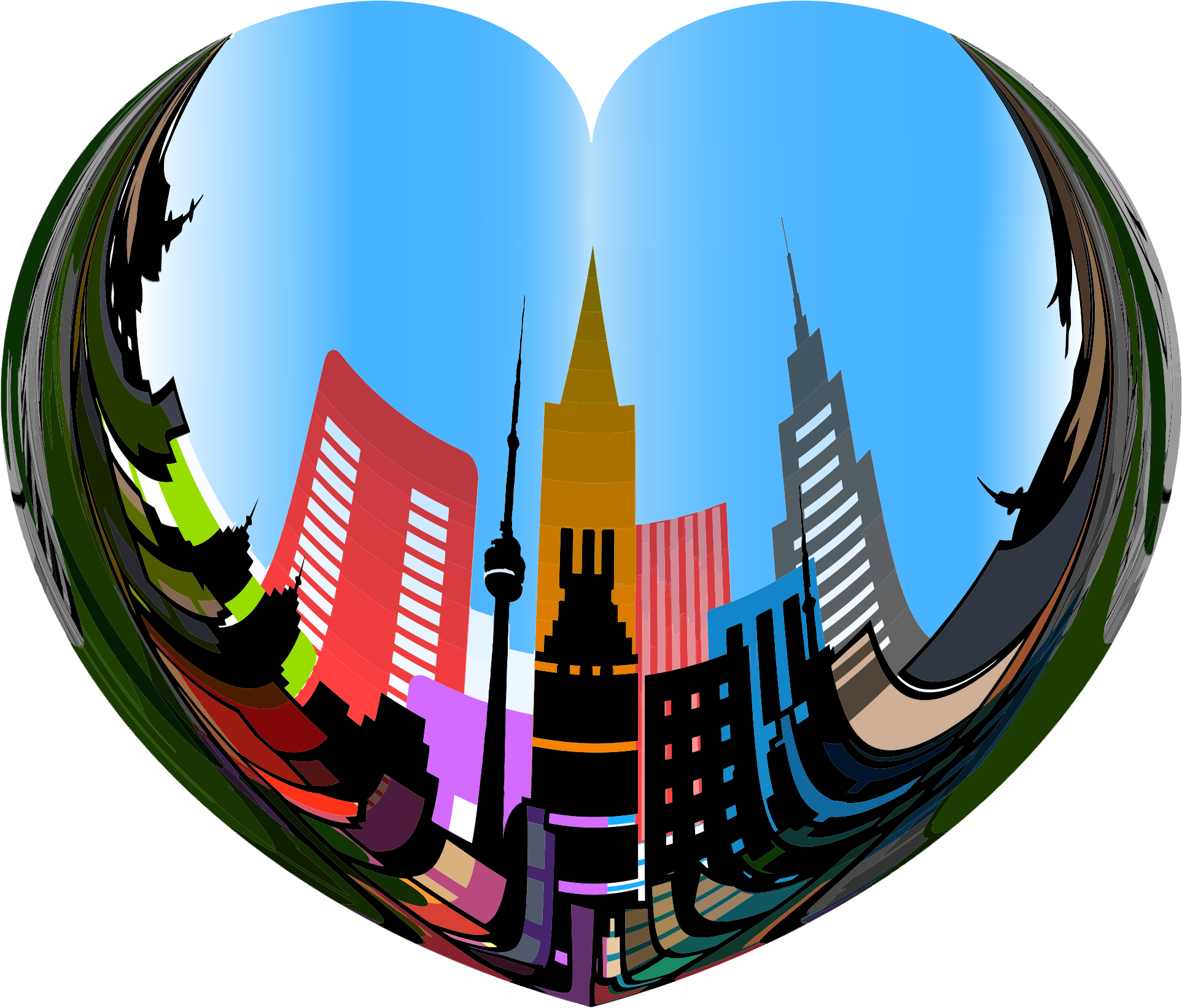 Circle clipart city. Heart of the big