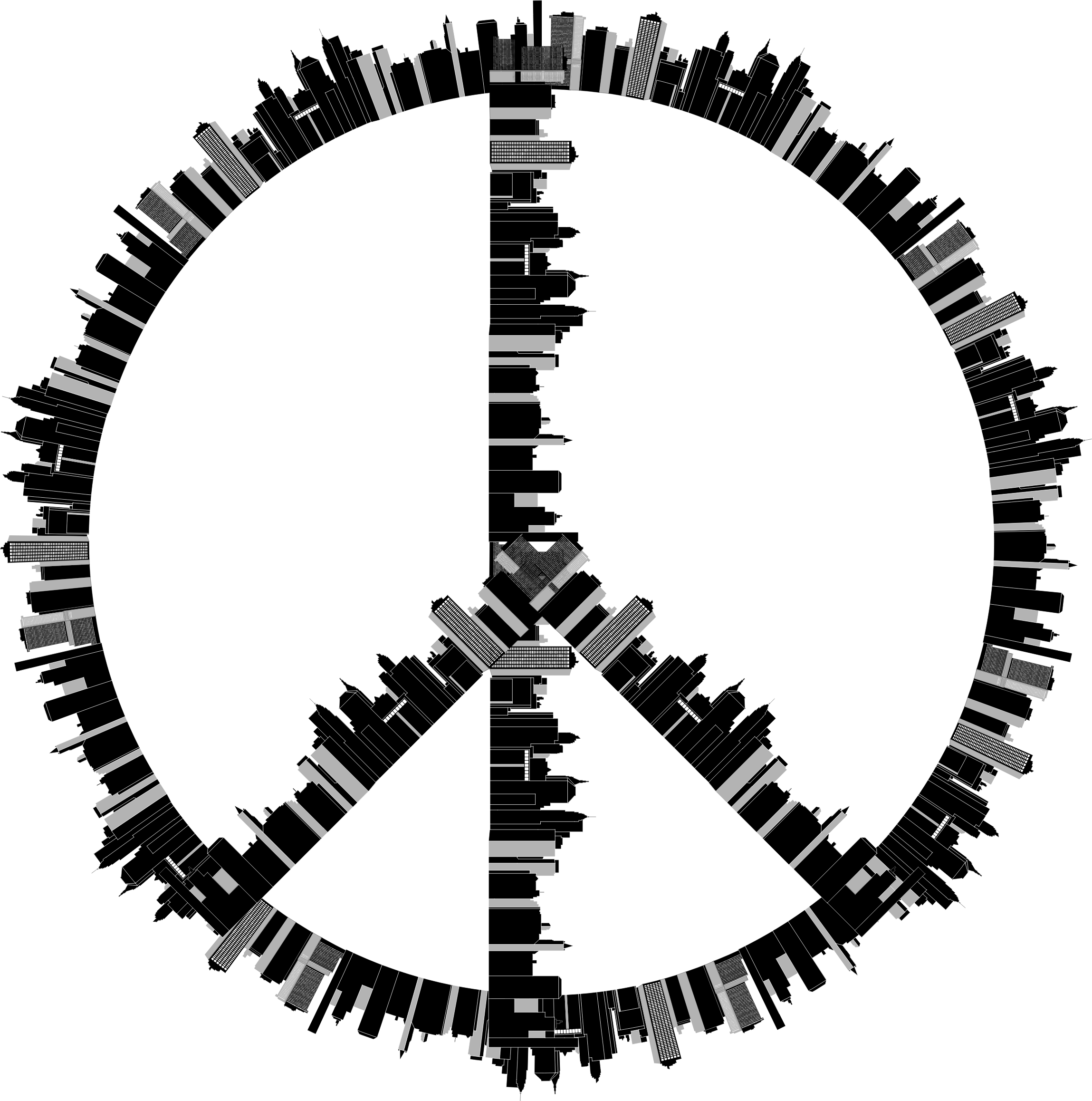 Peace sign big image. Circle clipart city