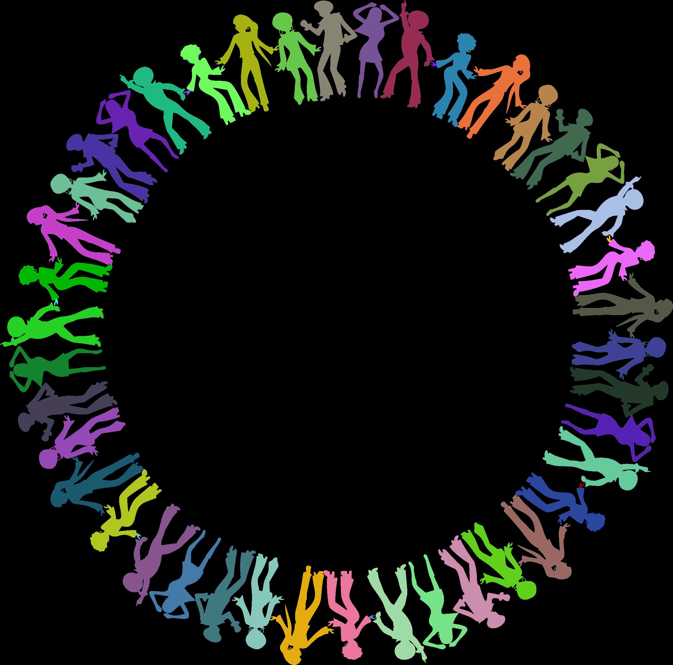 Disco dancers circle prismatic. Dancing clipart colorful