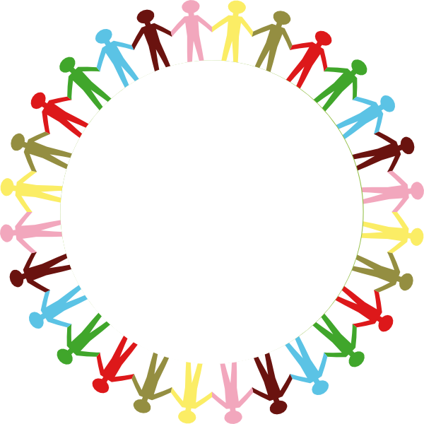Holding hands stick people. Circle clipart colored