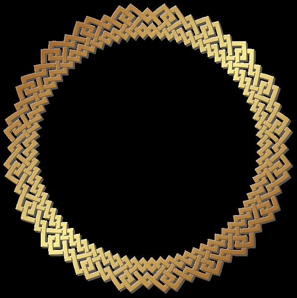 Round golden border frame. Circle clipart community