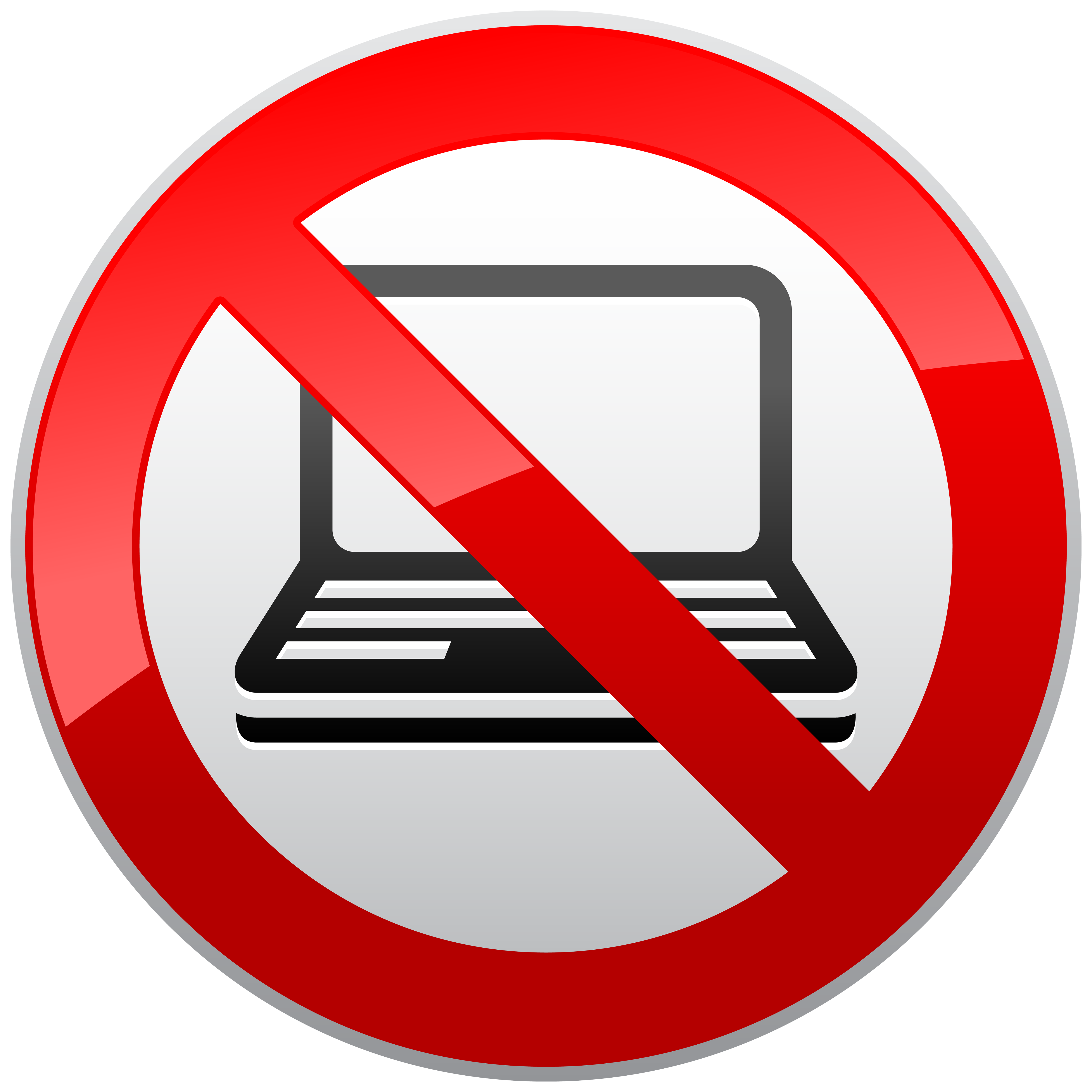 Circle clipart computer. No laptop prohibition sign