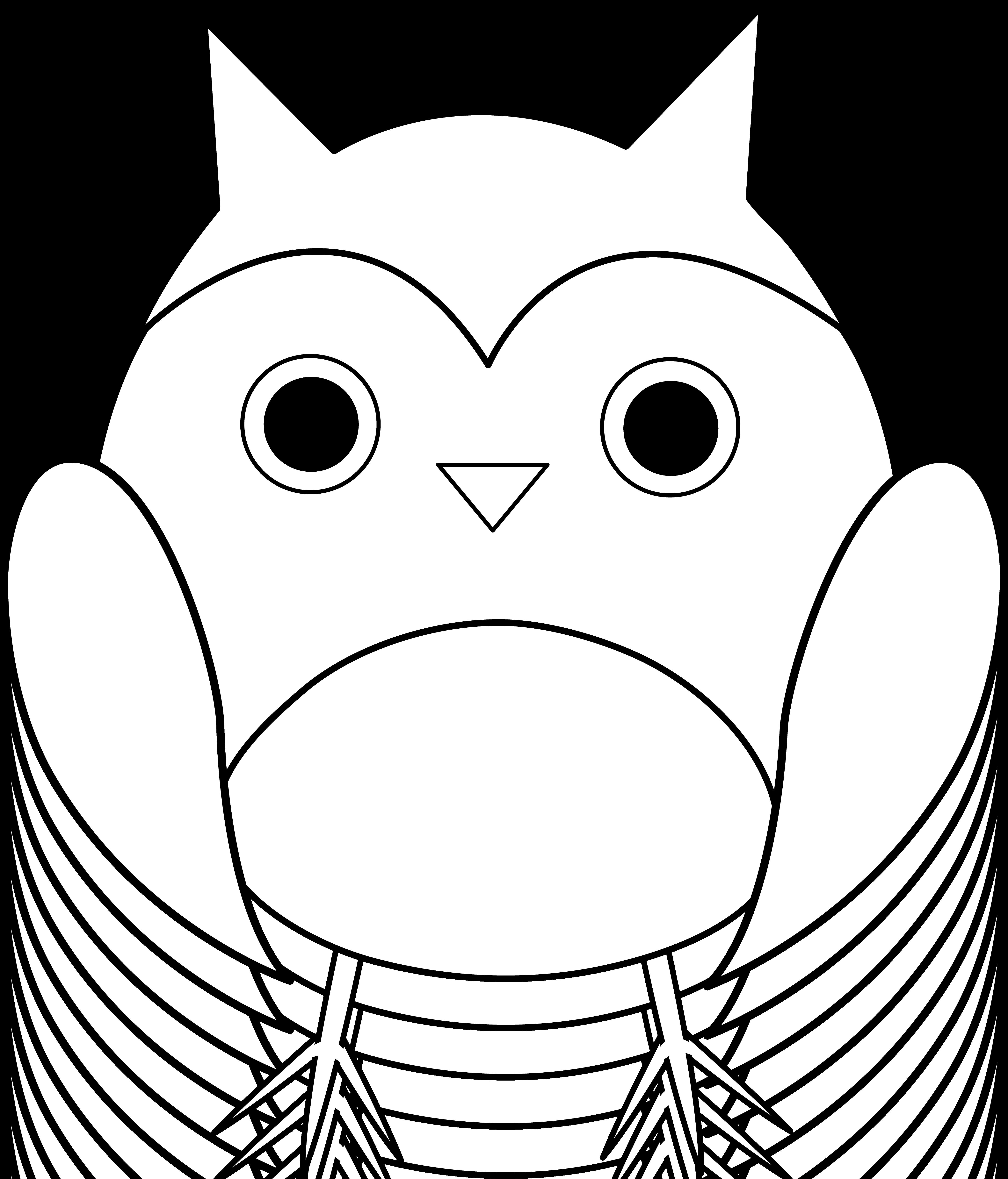 Owl line art free. Club clipart cute