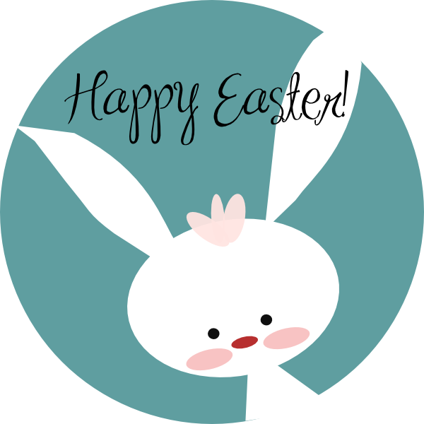Happy easter bunny clip. Circle clipart cute