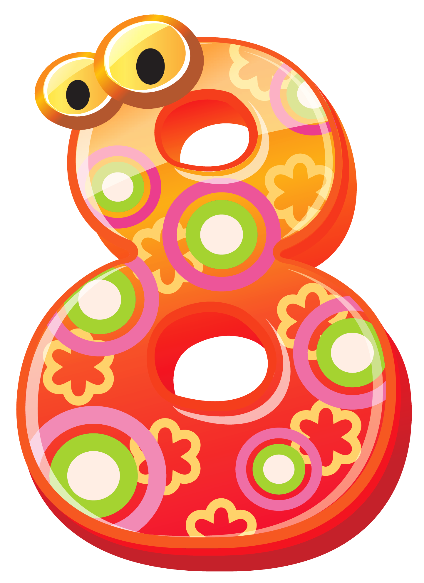 Number eight png image. Decorative clipart cute
