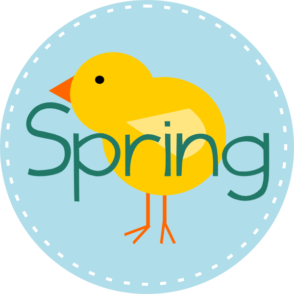 Spring is here blue. Circle clipart cute