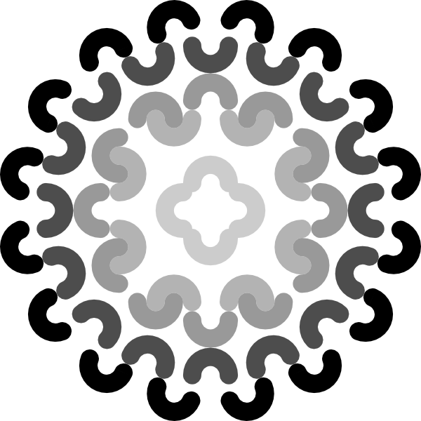 Circle clipart decoration. Grayscale flower clip art