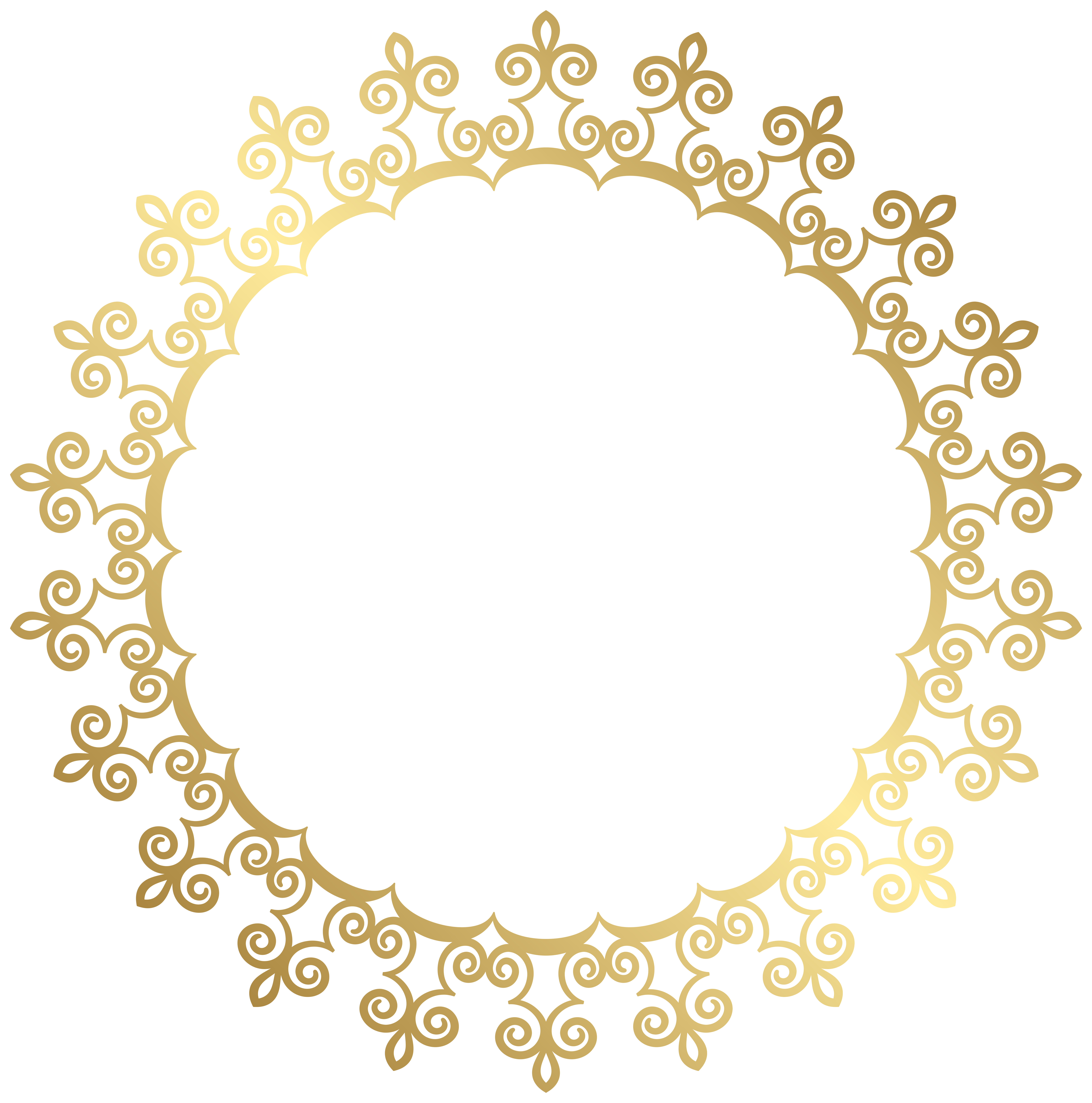 Round gold border frame. Circle clipart decoration