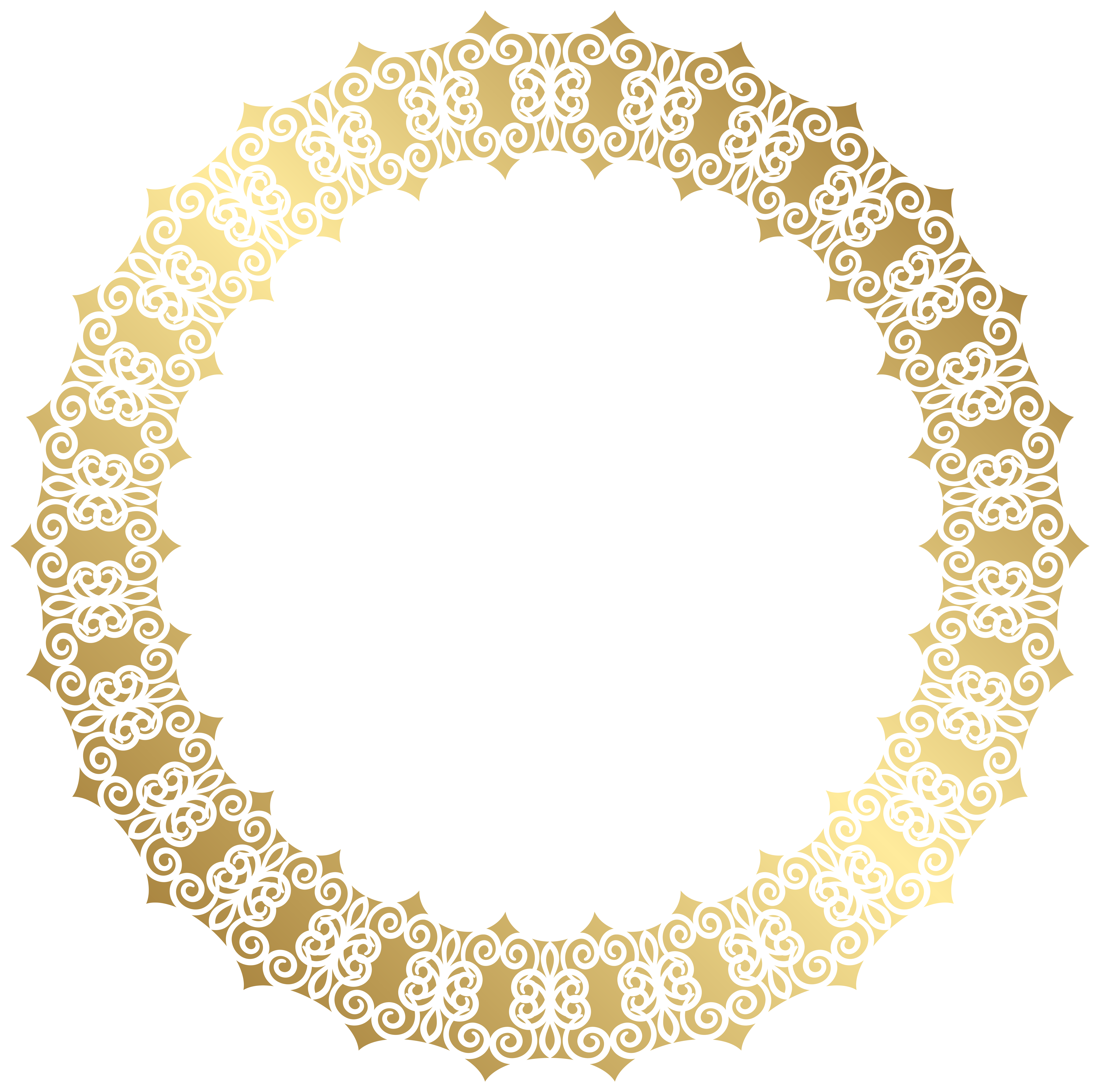 Round border transparent clip. Gold clipart doily