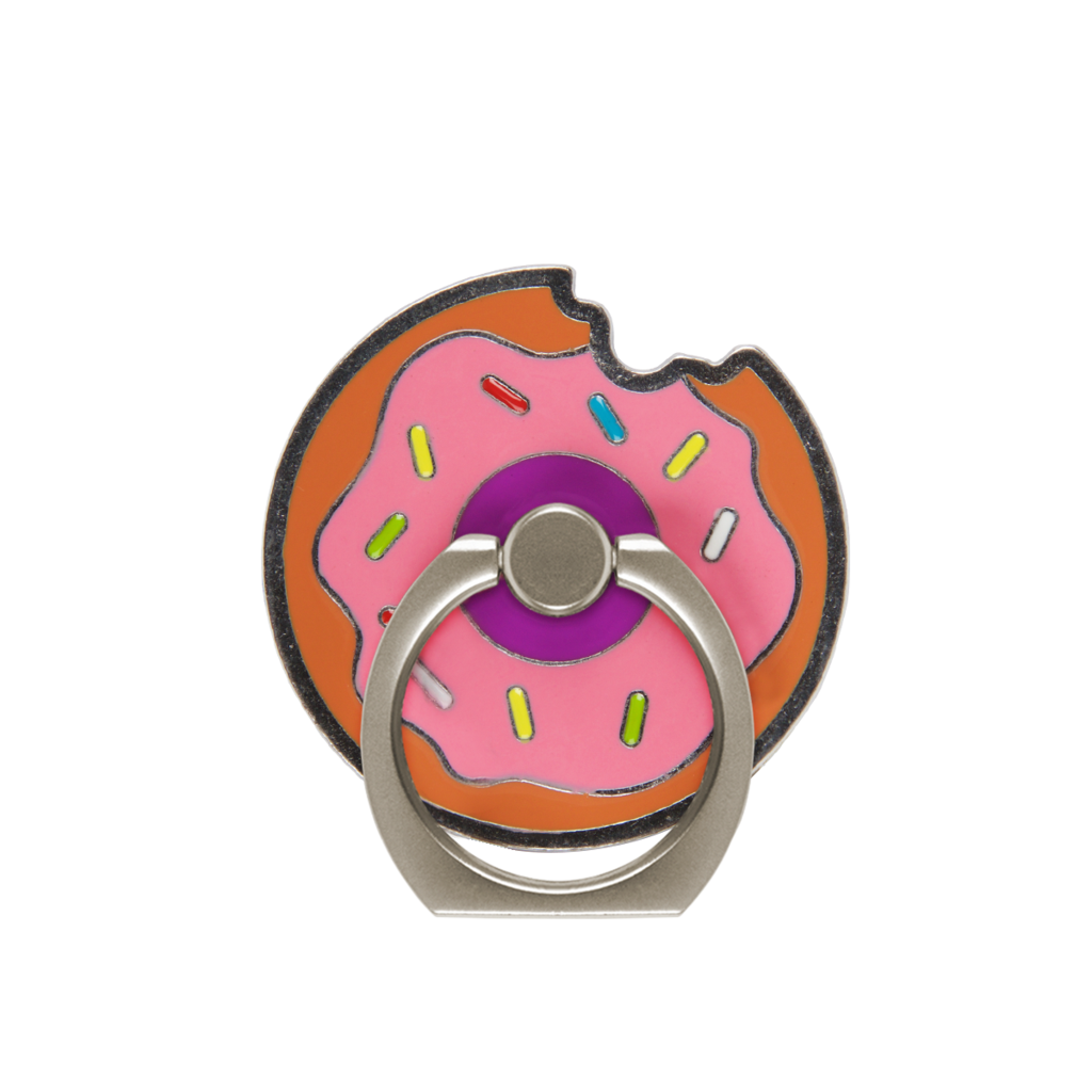 Tech tagged phone accessory. Donut clipart purple
