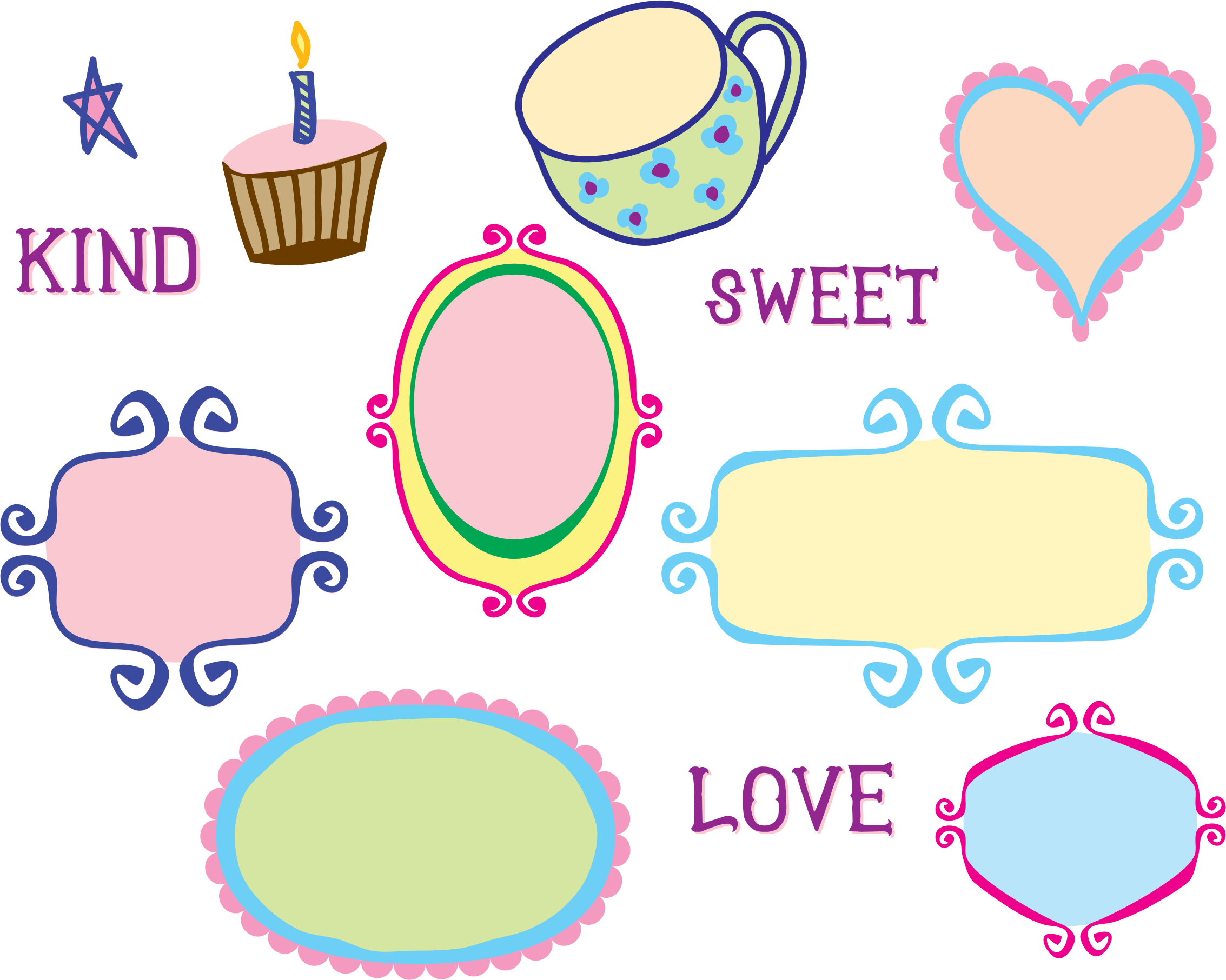 Kitschy frame borders big. Number 1 clipart doodle