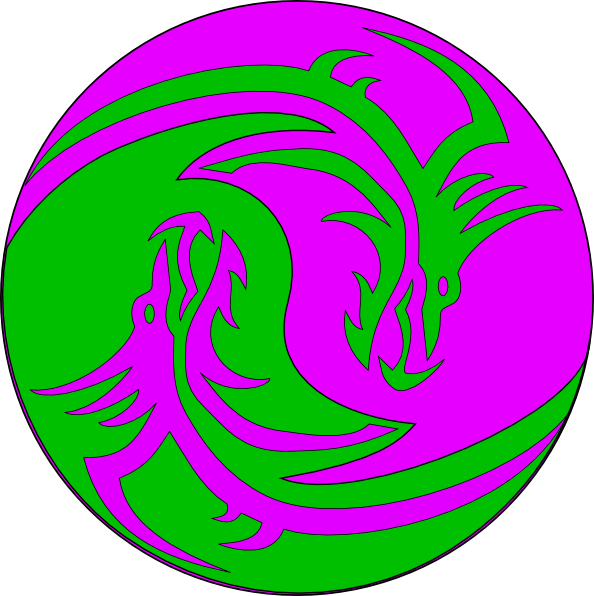 Green purple dragons clip. Circle clipart dragon