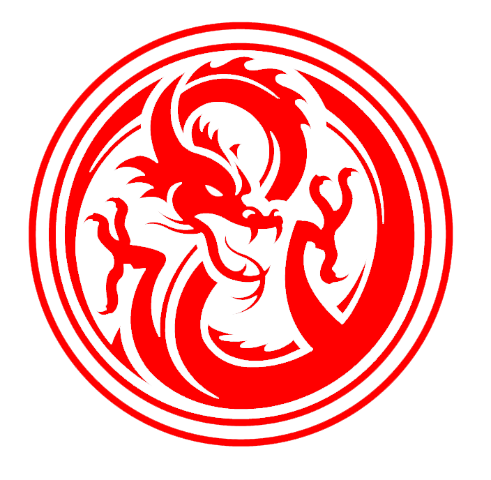 Red logo inside a. Circle clipart dragon