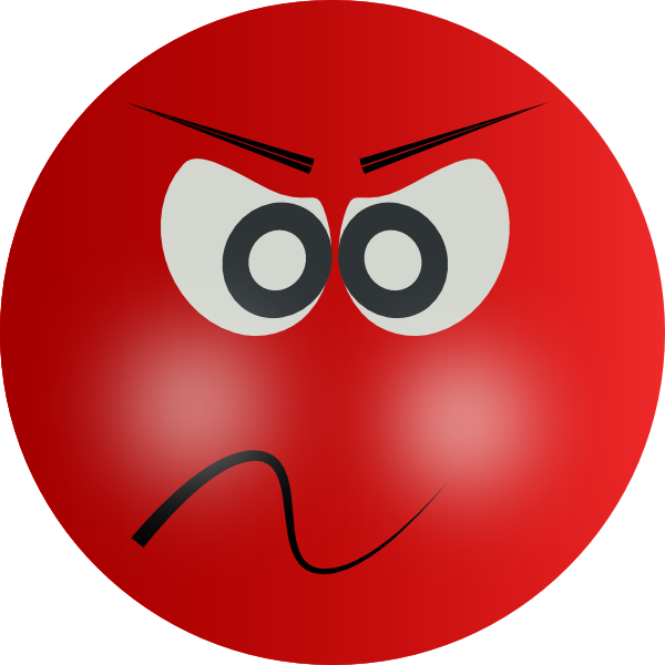 Circle clipart face. Angry person with red
