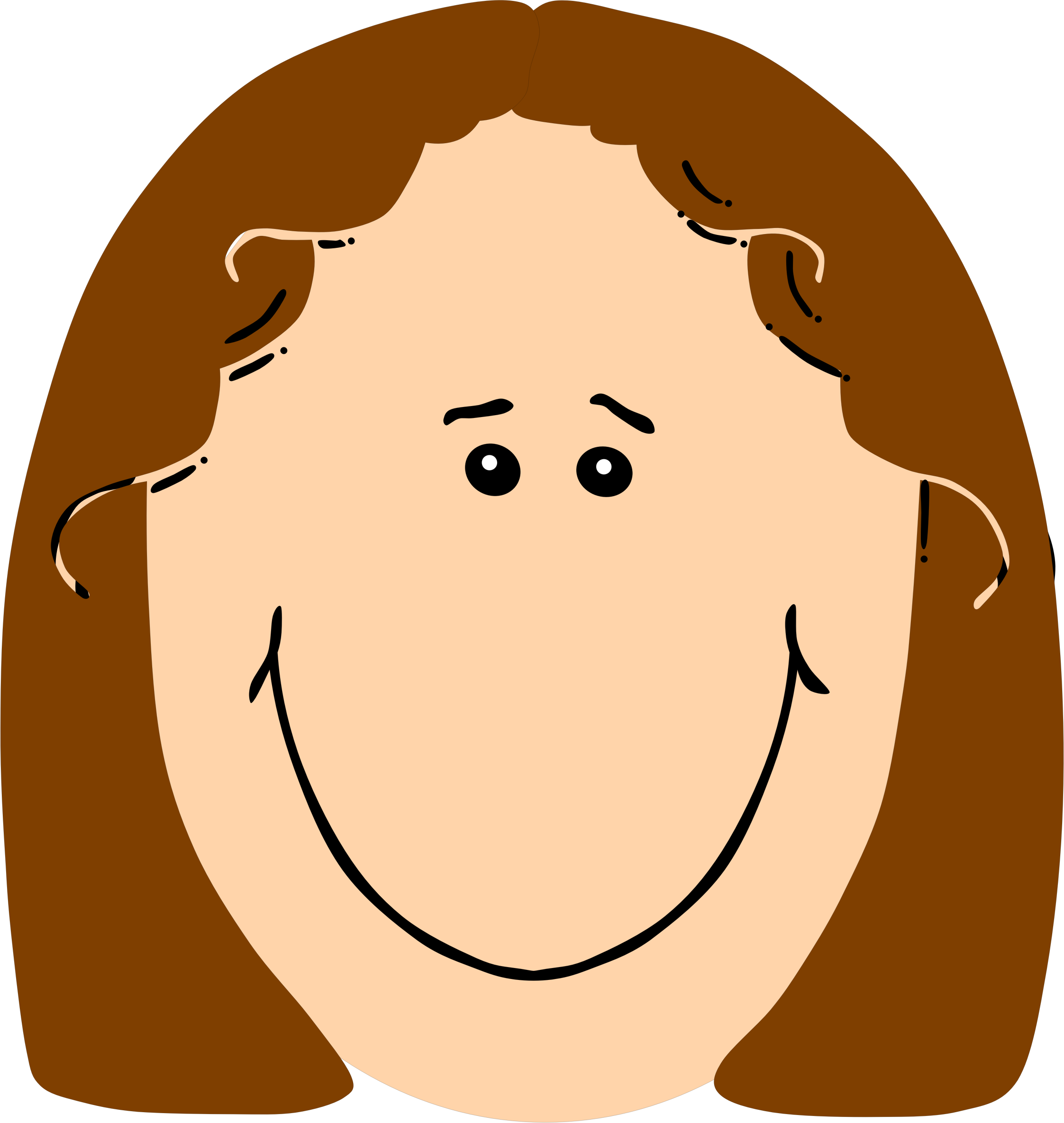 Circle clipart face. Girl with brown hair
