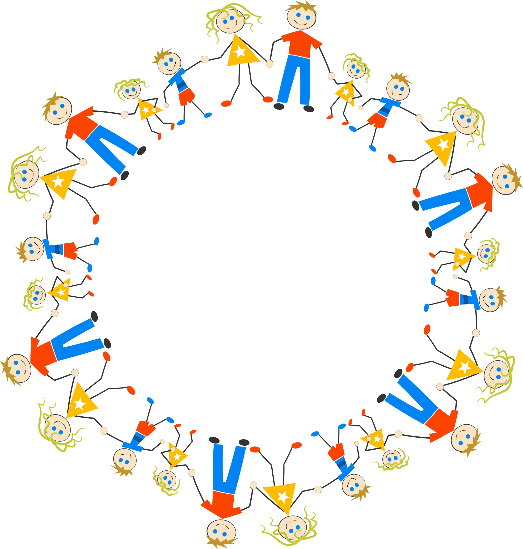 Stick figure big image. Circle clipart family