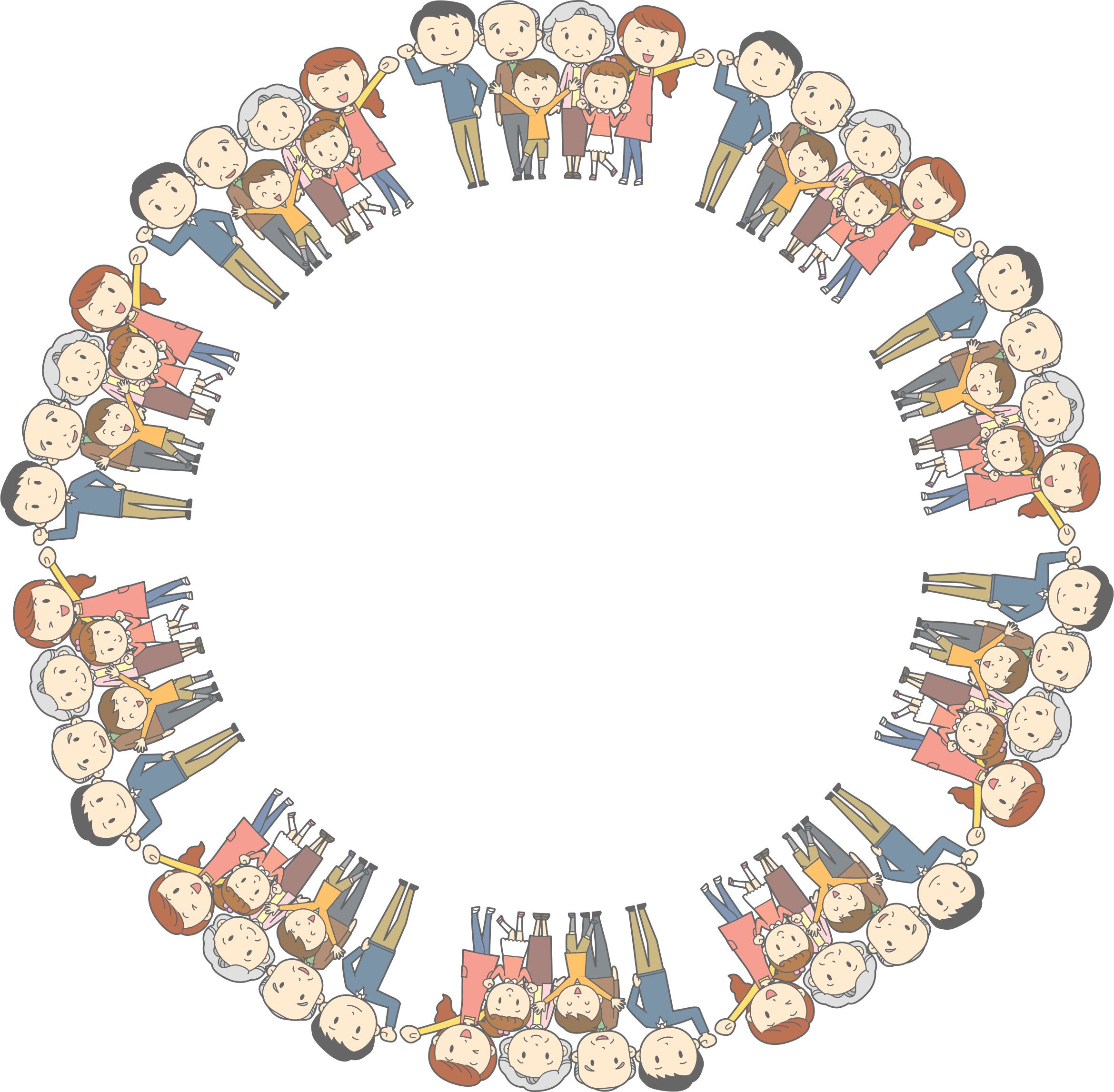 Families clipart frame. Multigenerational family circle big