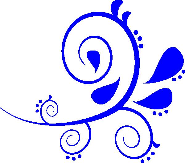 Blue swirl clip art. Flourish clipart fancy symbol