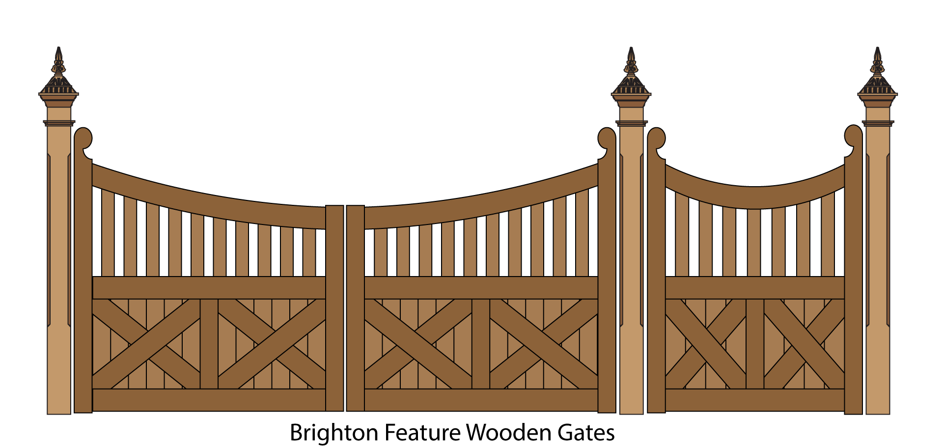 Brighton feature wooden gates. Clipart road driveway