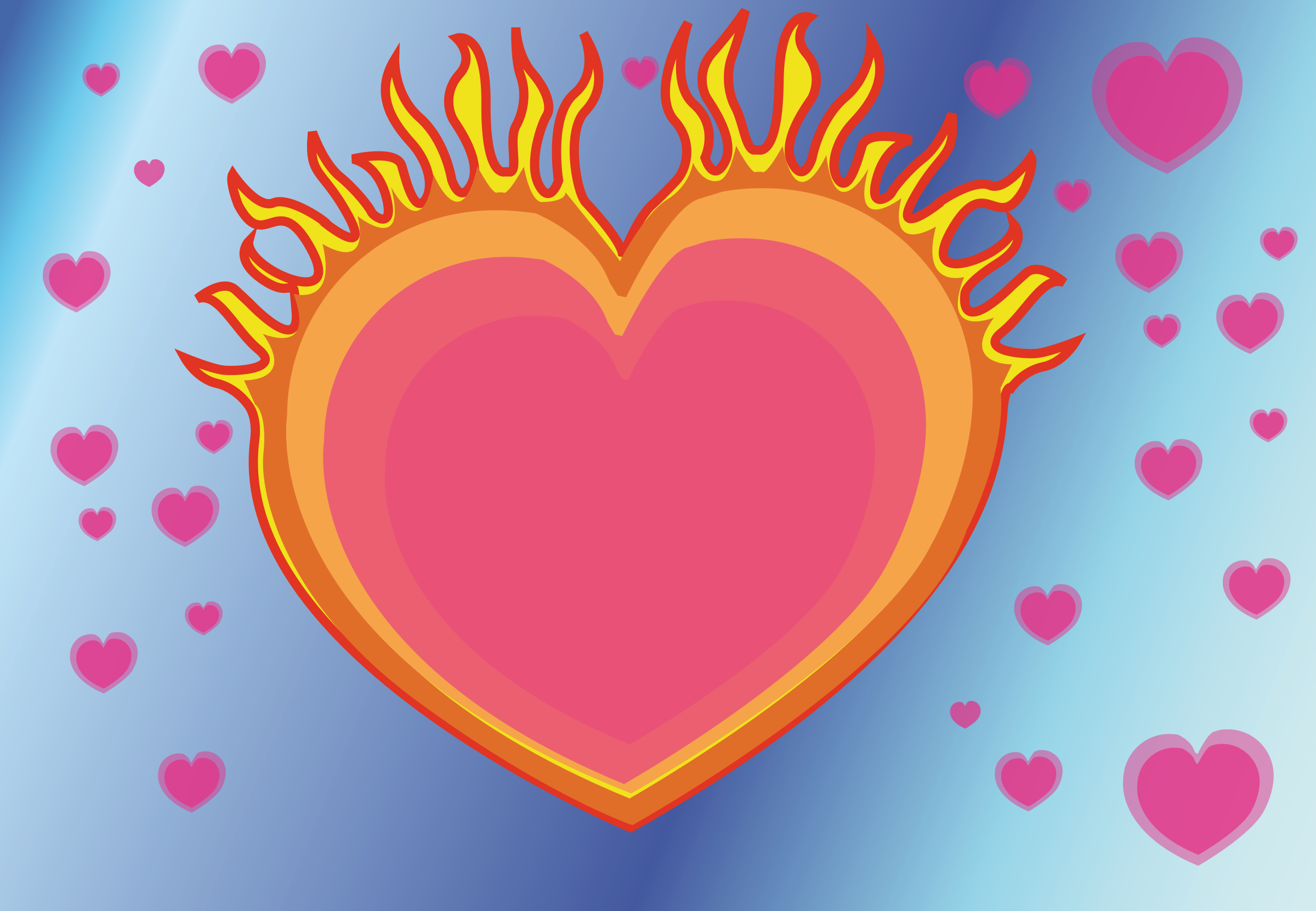 Heart on big image. Fire clipart love