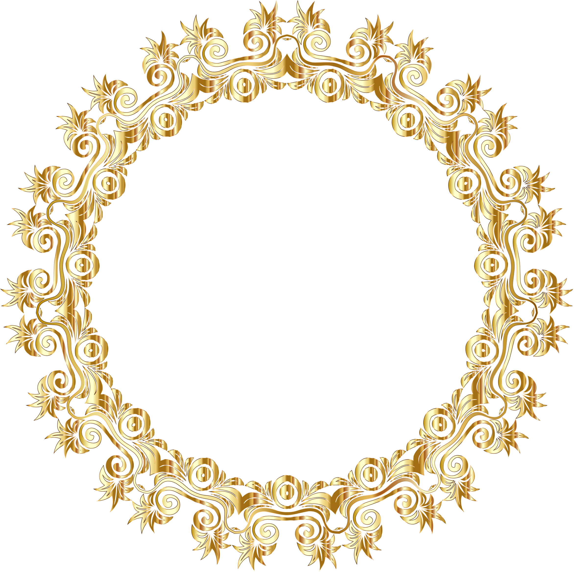 Gold flourish motif frame. Circle clipart floral