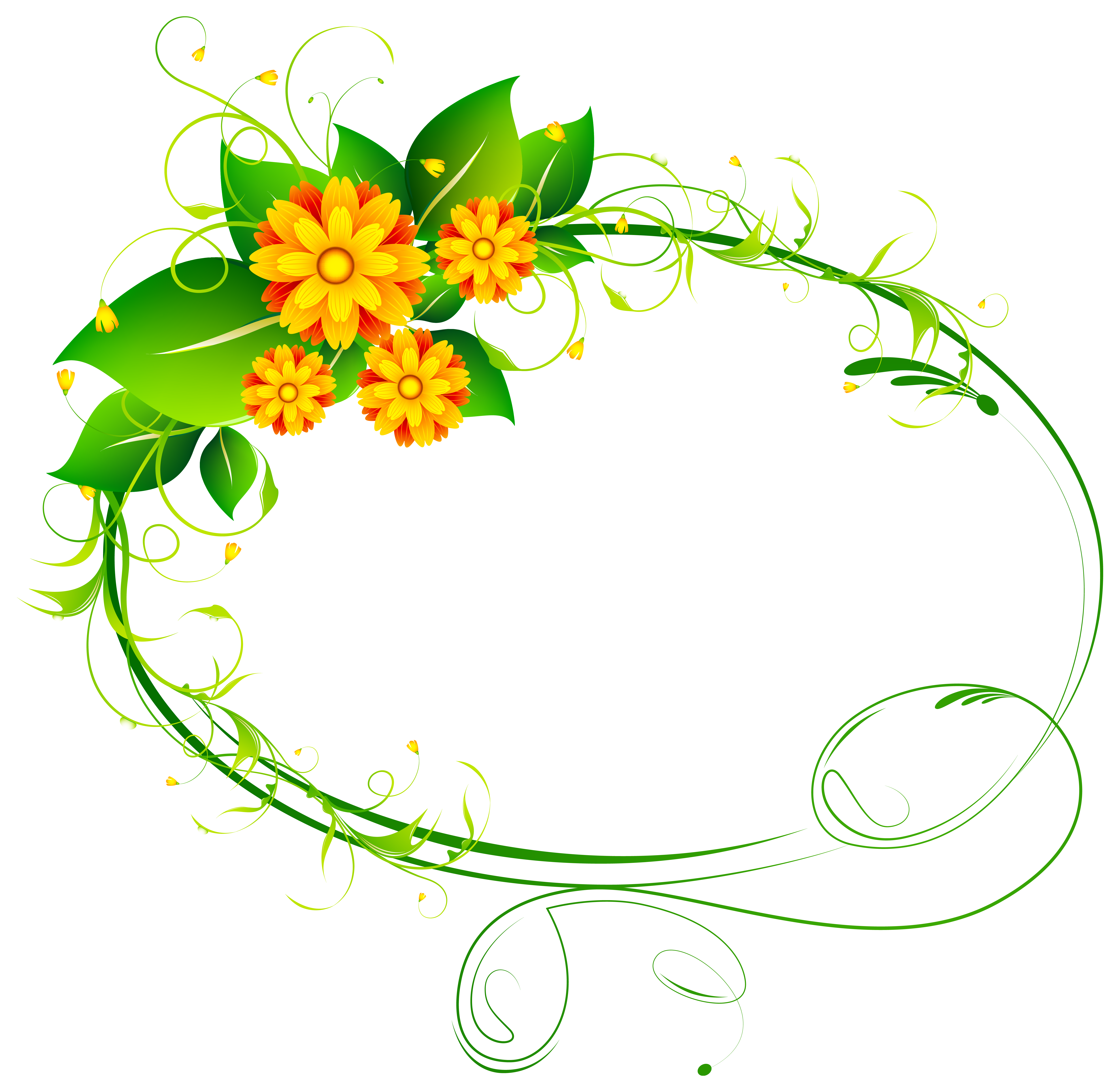 Circle clipart floral. Oval decor png clip