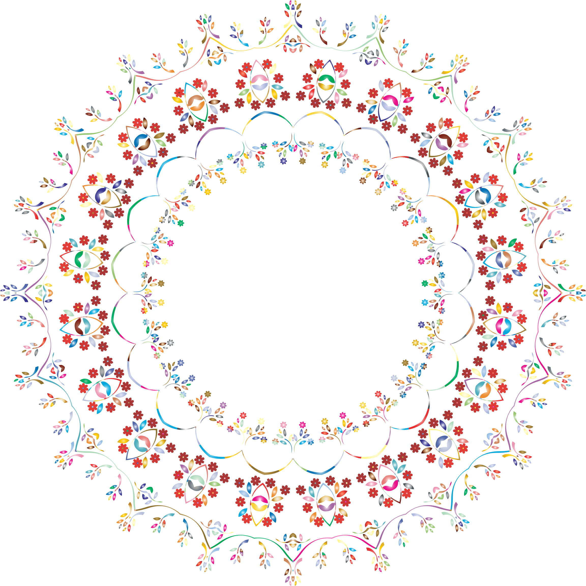 Circle clipart floral. Prismatic frame no background