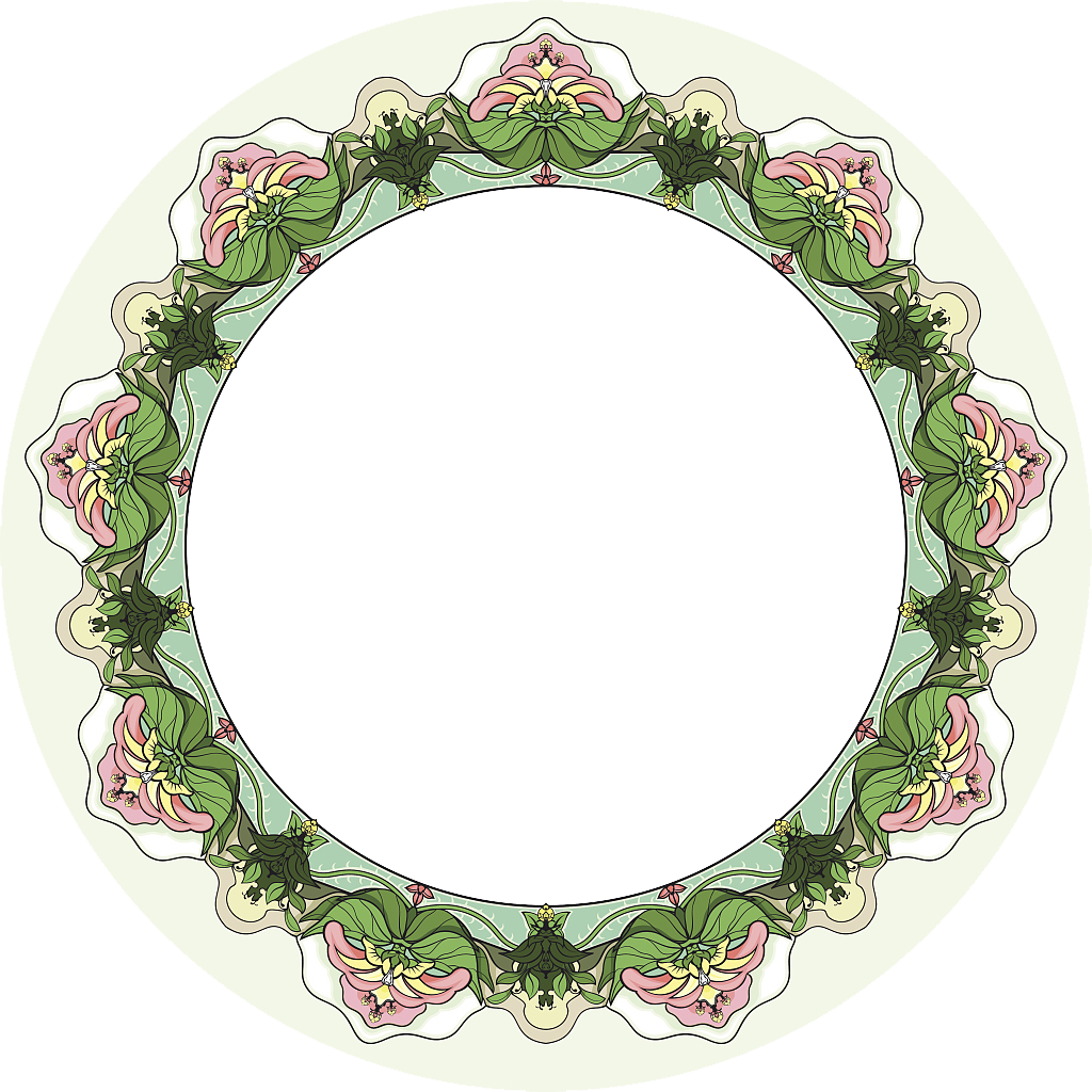 Circle clipart greenery. Floral ornament art deco
