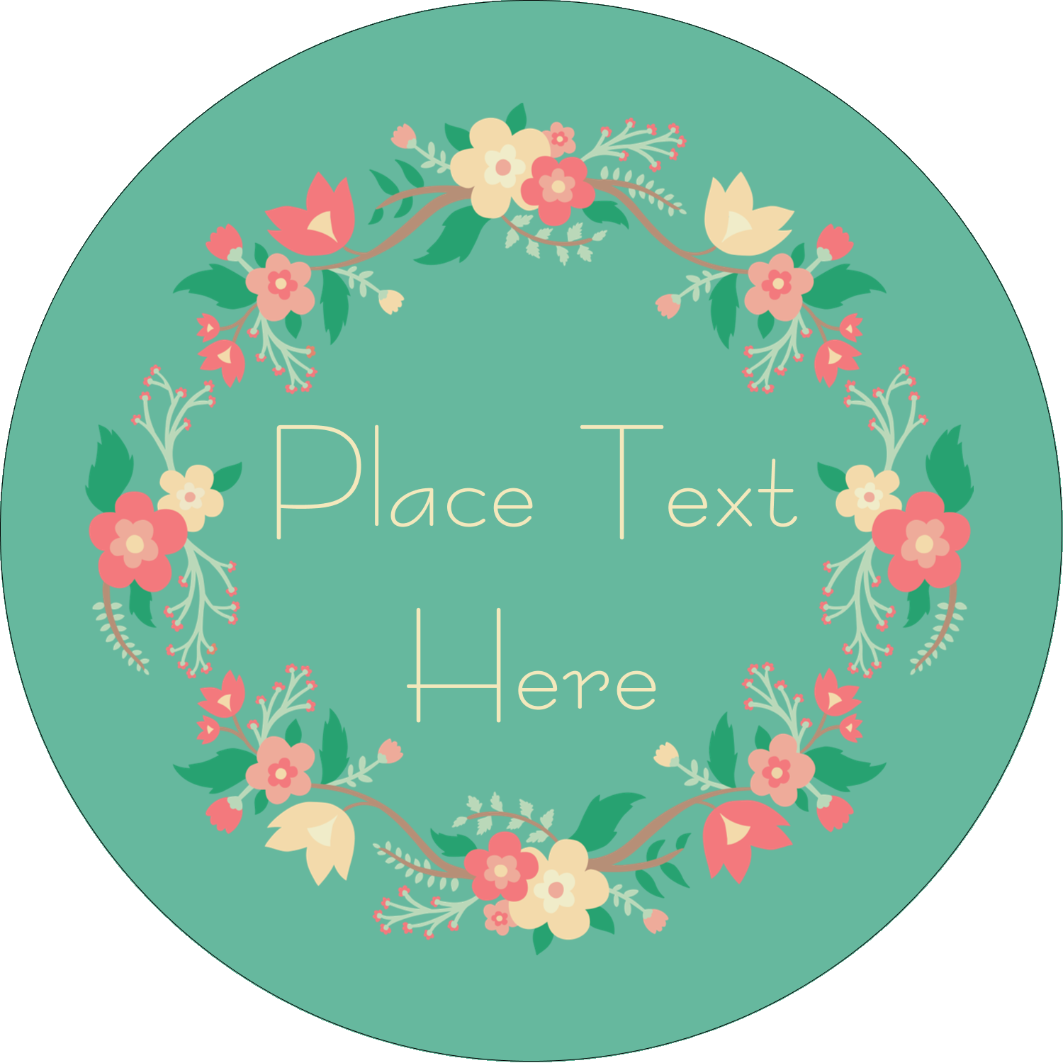 Floral wreath predesigned template. Circle clipart greenery