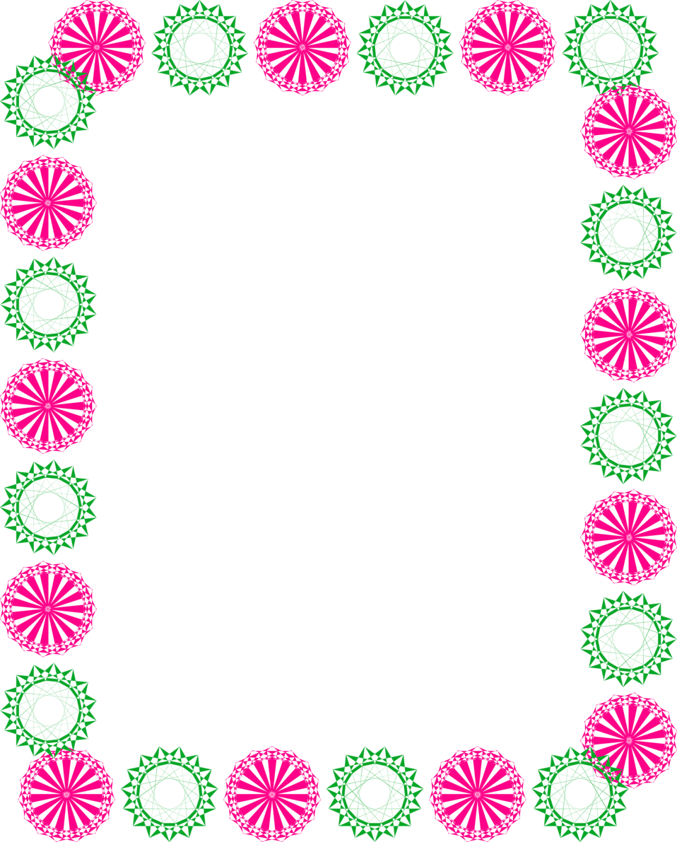 Green and pink border. Circle clipart greenery