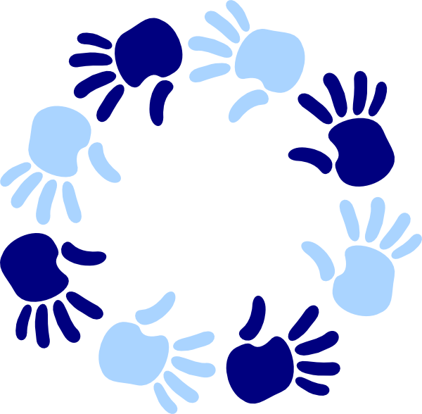 Circle clipart hand. Blue of hands clip