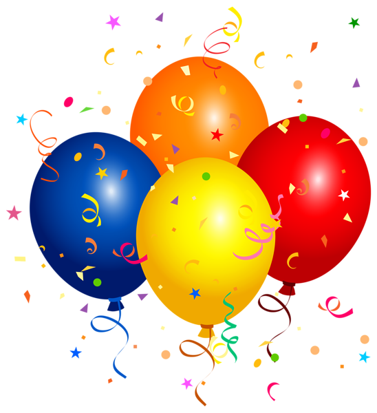 Confetti and balloons png. Surprise clipart birthday ballon