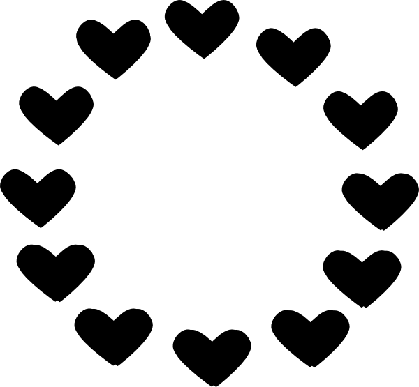 Black clip art at. Circle clipart heart