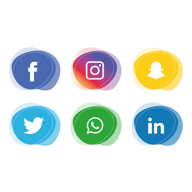 Social media set whatsapp. Facebook twitter instagram icons png