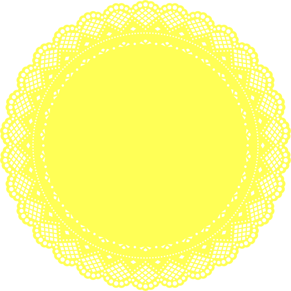 Yellow doily clip art. Lace vector png