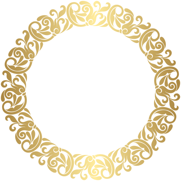 Circle clipart lace. Gold round border frame