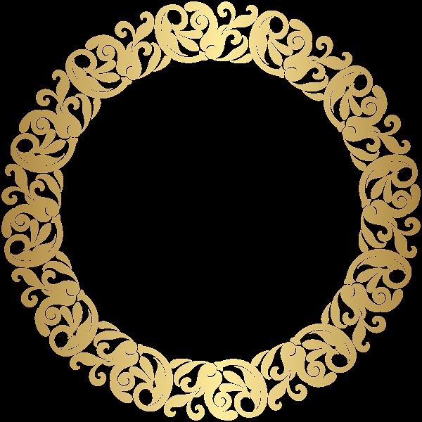Gold frame clip art. Round border png