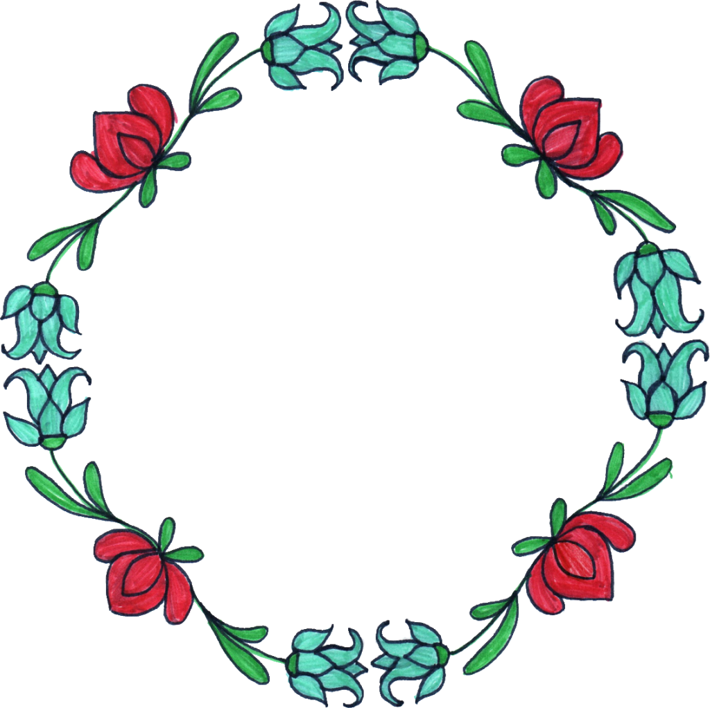 Flower circle drawing at. Clipart vegetables wreath