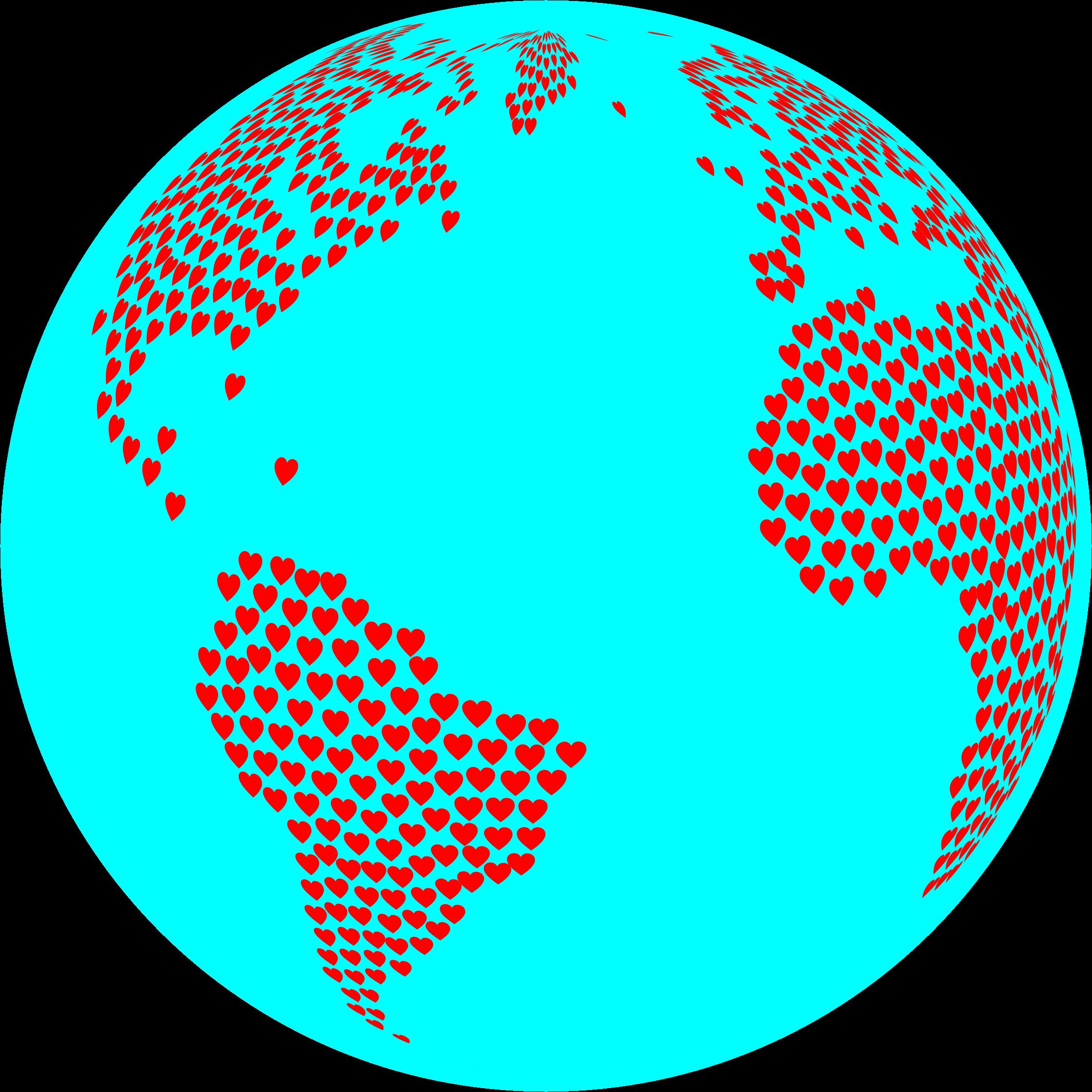 Hearts globe with big. Circle clipart ocean