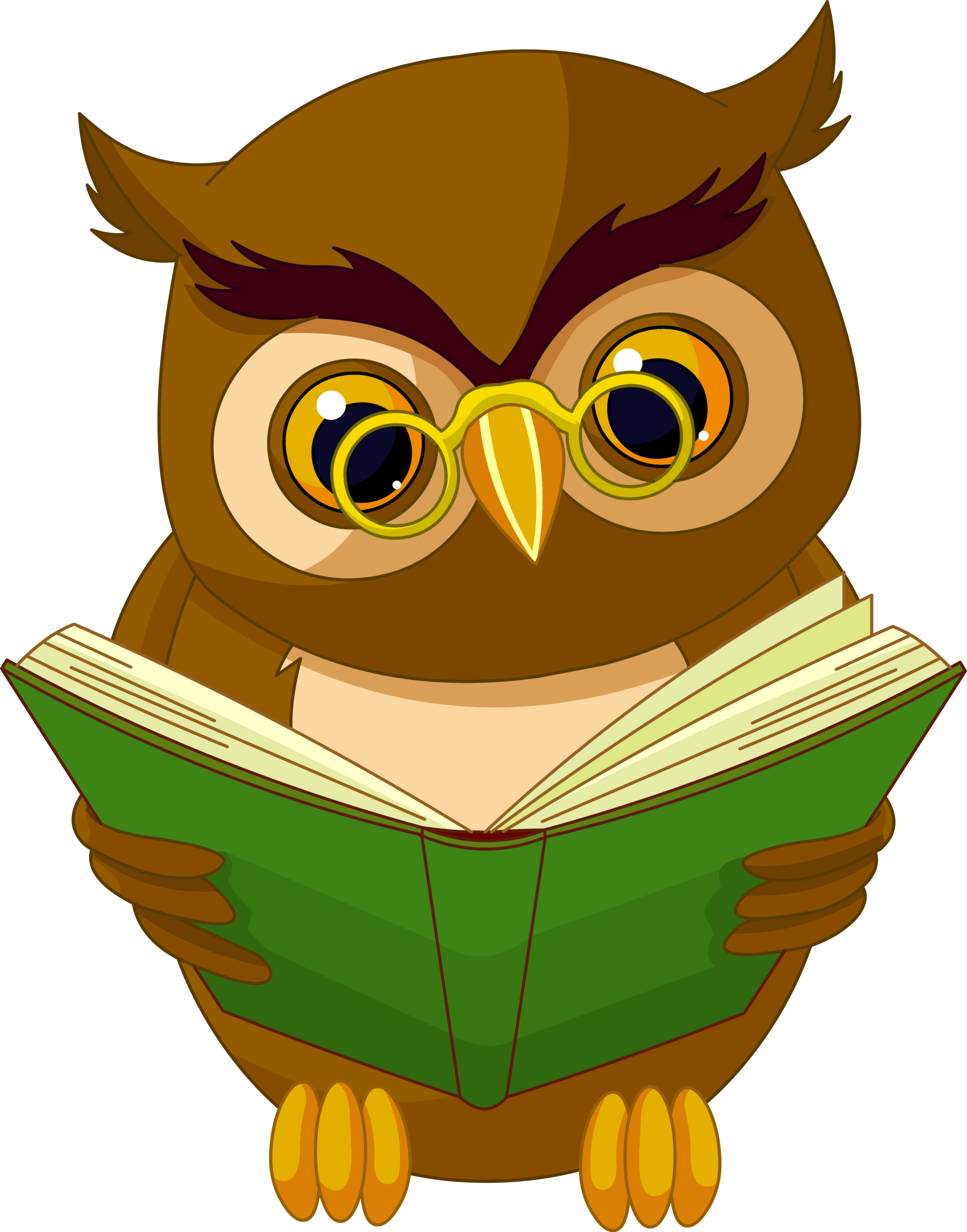 Transparent owl with book. Clipart anchor shaded