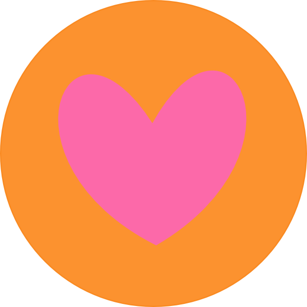 Heart in orange clip. Circle clipart peach