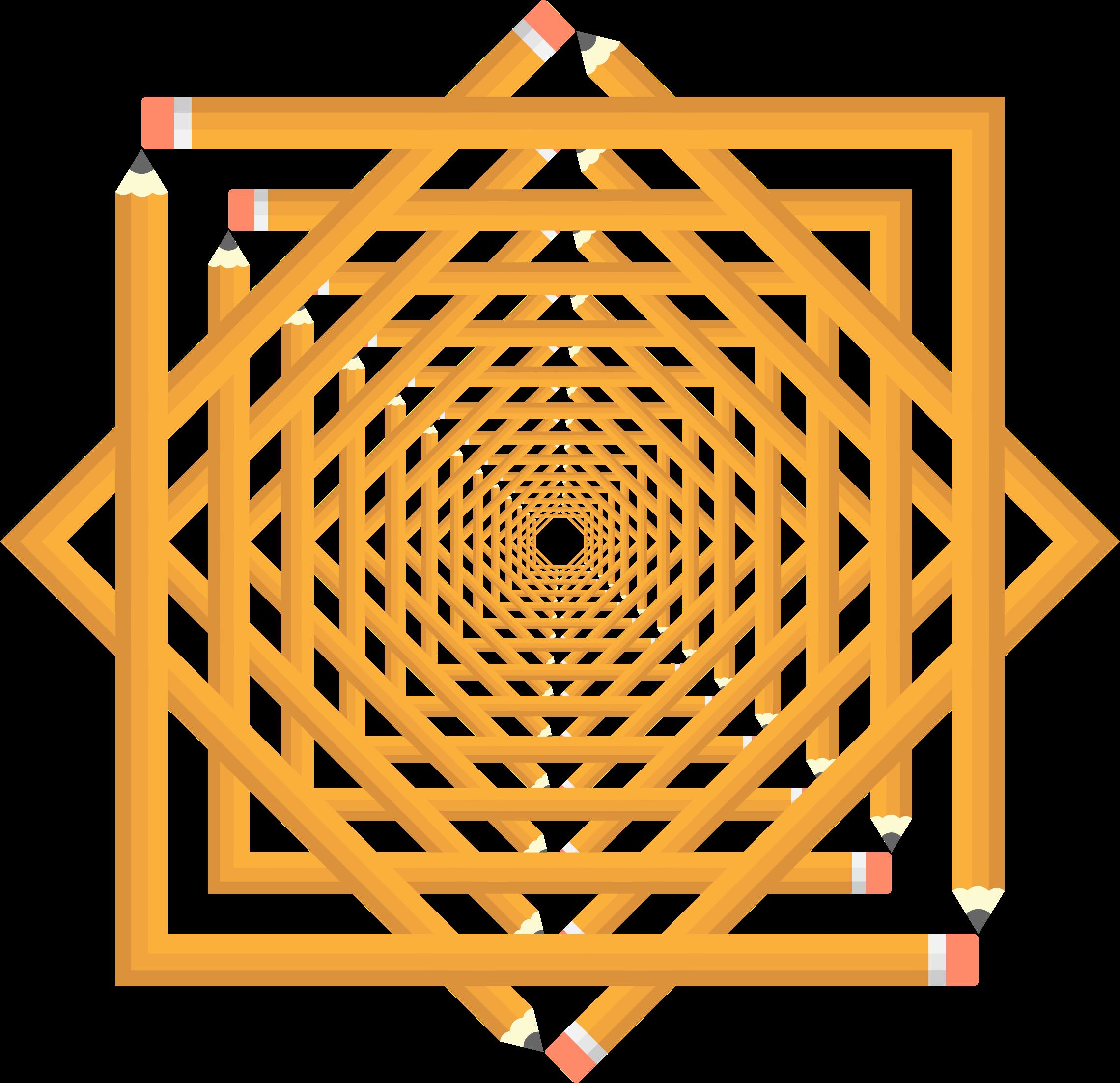 Frame interlocked vortex big. Circle clipart pencil