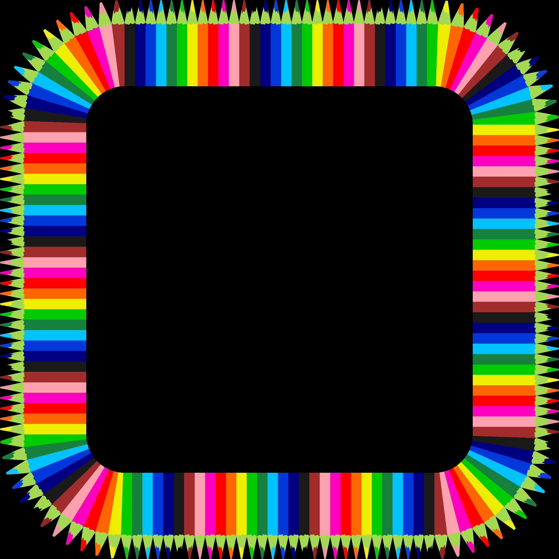 Colorful pencils frame big. Circle clipart pencil