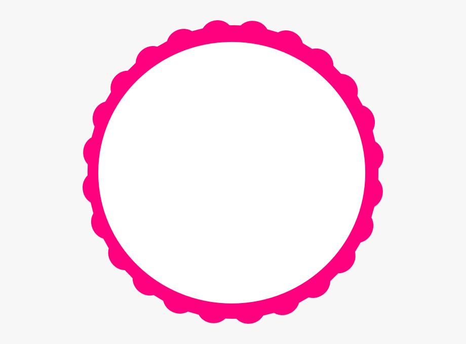 Clipart frames circle. Pink scallop frame clip