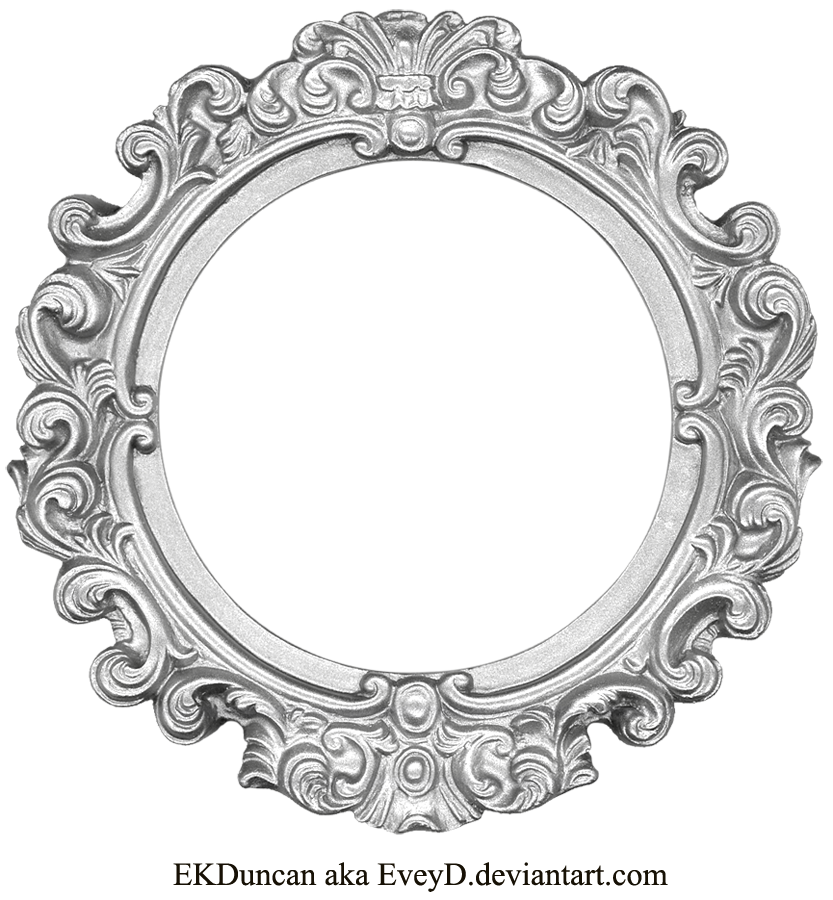 Oval clipart round mat. Vintage silver frame by