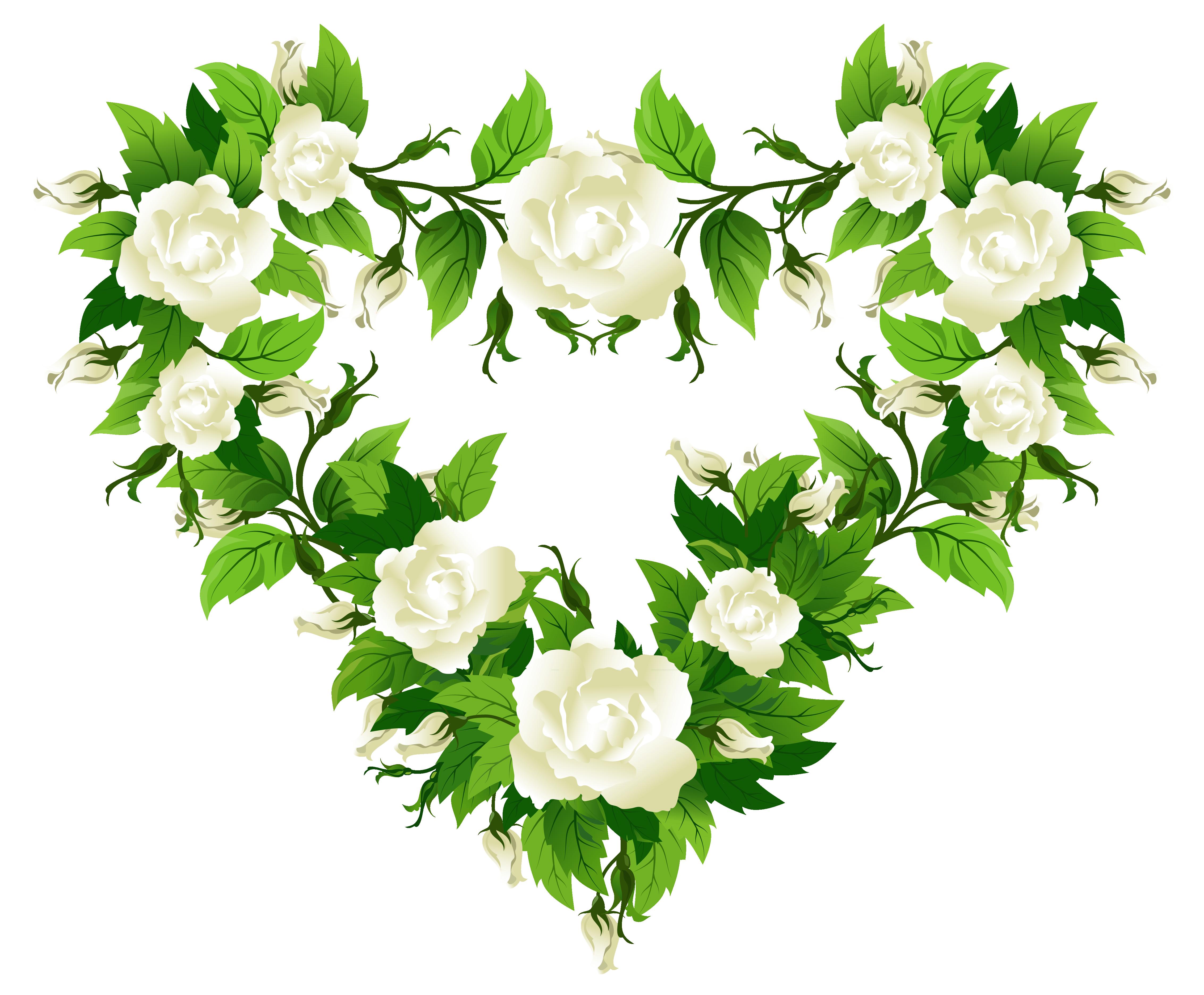 Circle clipart rose. White roses heart decor