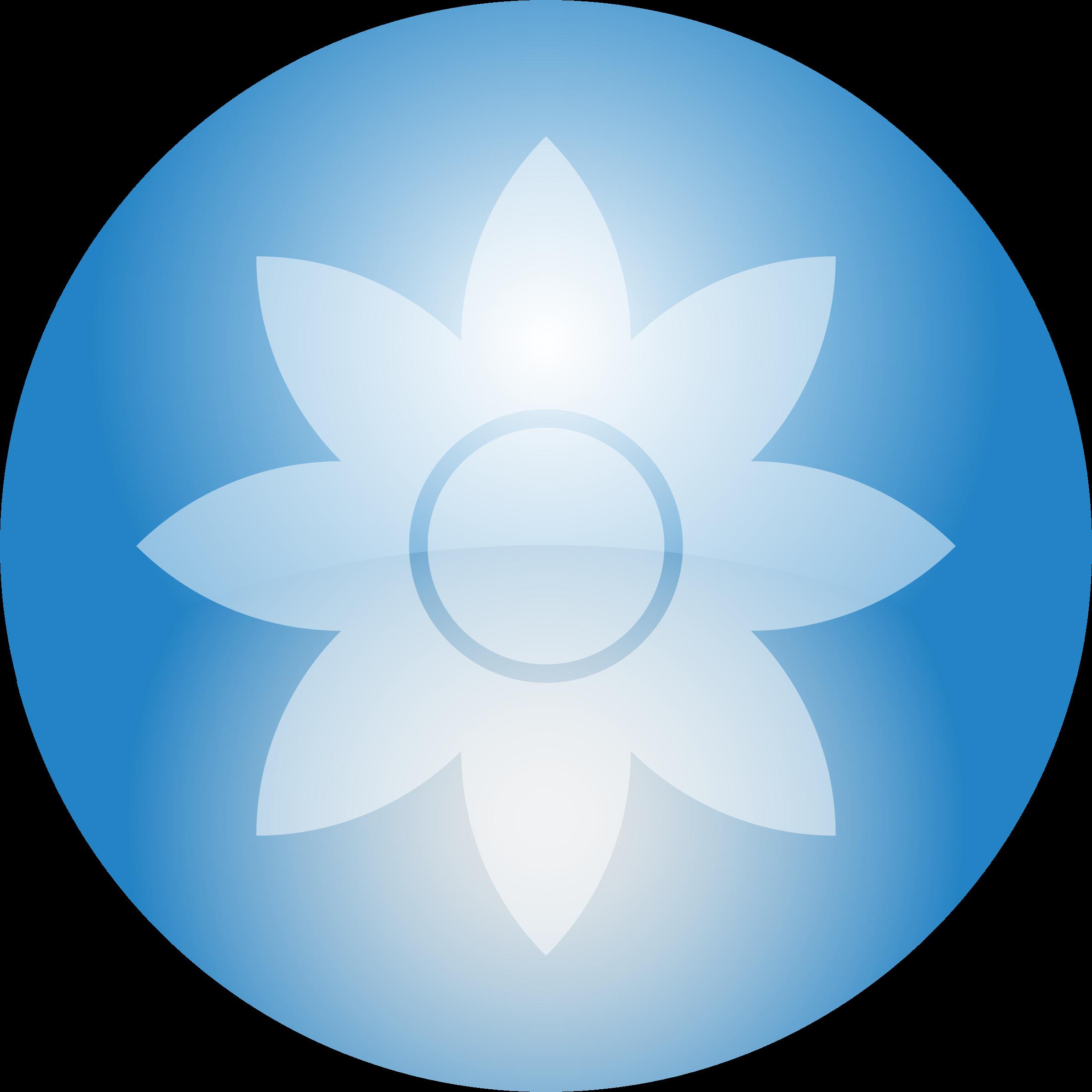 Flower orb big image. Circle clipart sky blue