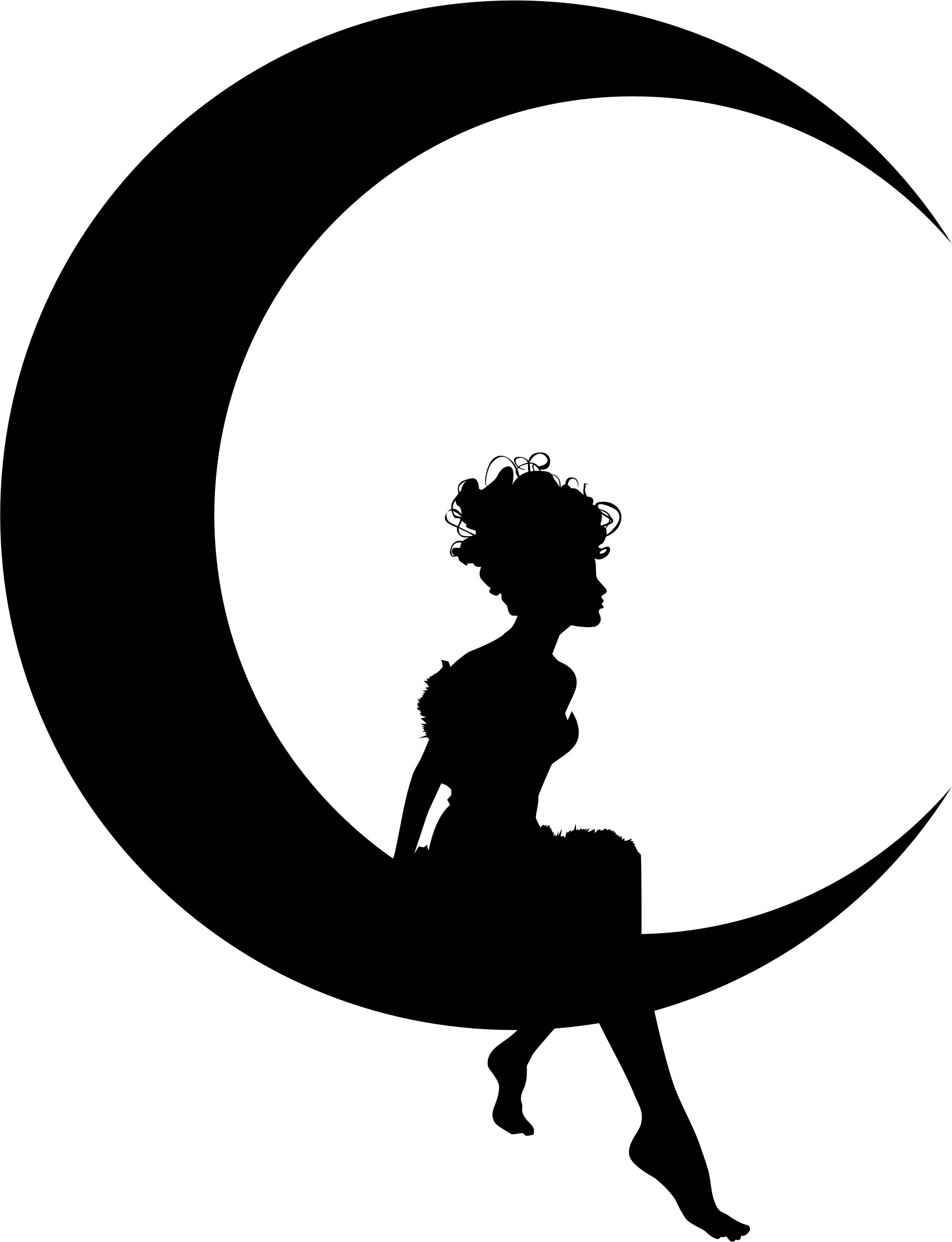 Circle clipart translucent. Fairy sitting on moon