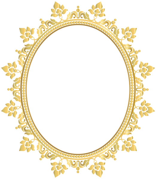 Oval decorative border frame. Circle clipart transparent background
