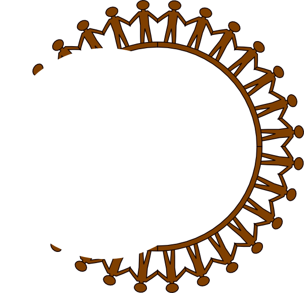 Holding hands circle clip. People clipart reunion